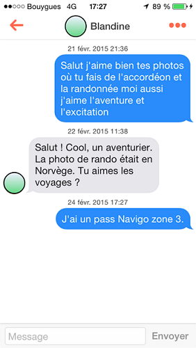 Exemples de conversations sur TInder.