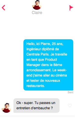 un premier message tinder efficace